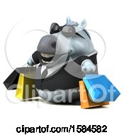 3d Chubby White Business Horse Carrying Shopping Bags On A White Background