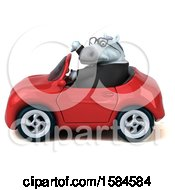 Clipart Of A 3d Chubby White Business Horse Driving A Convertible On A White Background Royalty Free Illustration