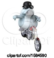 Clipart Of A 3d Chubby White Horse Riding A Chopper Motorcycle On A White Background Royalty Free Illustration