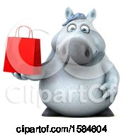 3d Chubby White Horse Holding A Shopping Bag On A White Background