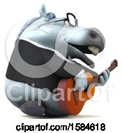 3d Chubby White Business Horse Playing A Guitar On A White Background