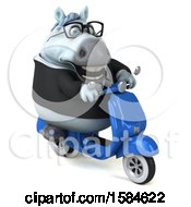 Clipart Of A 3d Chubby White Business Horse Riding A Moped On A White Background Royalty Free Illustration
