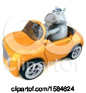 Clipart Of A 3d Chubby White Horse Driving A Convertible On A White Background Royalty Free Illustration