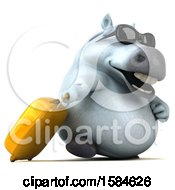 3d Chubby White Horse Traveler On A White Background
