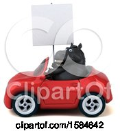 Clipart Of A 3d Chubby Black Horse Driving A Convertible Car On A White Background Royalty Free Illustration