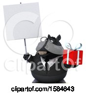 Clipart Of A 3d Chubby Black Business Horse Holding A Gift On A White Background Royalty Free Illustration