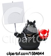 Clipart Of A 3d Chubby Black Business Horse Holding A Devil On A White Background Royalty Free Illustration