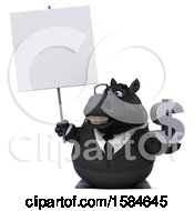 Clipart Of A 3d Chubby Black Business Horse Holding A Dollar Sign On A White Background Royalty Free Illustration