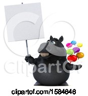 Clipart Of A 3d Chubby Black Horse Holding Messages On A White Background Royalty Free Illustration