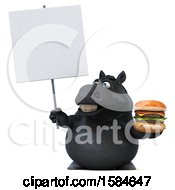 Clipart Of A 3d Chubby Black Horse Holding A Burger On A White Background Royalty Free Illustration
