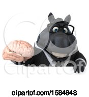Clipart Of A 3d Chubby Black Business Horse Holding A Brain On A White Background Royalty Free Illustration