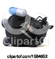 Clipart Of A 3d Chubby Black Business Horse Holding A Pill On A White Background Royalty Free Illustration