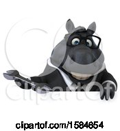 Clipart Of A 3d Chubby Black Business Horse Holding A Wrench On A White Background Royalty Free Illustration