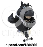 Clipart Of A 3d Chubby Black Business Horse Exercising On A Spin Bike On A White Background Royalty Free Illustration
