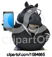 3d Chubby Black Business Horse Holding A Smart Phone On A White Background