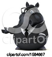 Clipart Of A 3d Chubby Black Business Horse Presenting On A White Background Royalty Free Illustration