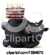 Clipart Of A 3d Chubby Black Horse Holding A Birthday Cake On A White Background Royalty Free Illustration
