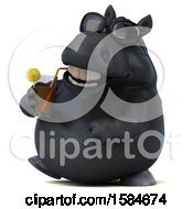 Clipart Of A 3d Chubby Black Horse Drinking A Beverage On A White Background Royalty Free Illustration