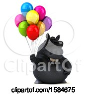 Clipart Of A 3d Chubby Black Horse Holding Balloons On A White Background Royalty Free Illustration