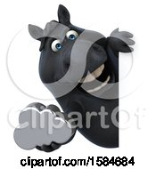 Clipart Of A 3d Chubby Black Horse Holding A Cloud On A White Background Royalty Free Illustration