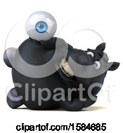 Clipart Of A 3d Chubby Black Horse Holding An Eyeball On A White Background Royalty Free Illustration