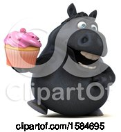 Clipart Of A 3d Chubby Black Horse Holding A Cupcake On A White Background Royalty Free Illustration