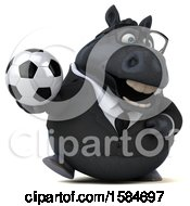 Clipart Of A 3d Chubby Black Business Horse Holding A Soccer Ball On A White Background Royalty Free Illustration