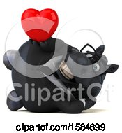 Clipart Of A 3d Chubby Black Business Horse Holding A Heart On A White Background Royalty Free Illustration