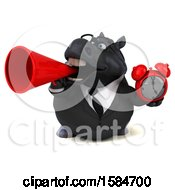 Clipart Of A 3d Chubby Black Business Horse Holding An Alarm Clock On A White Background Royalty Free Illustration
