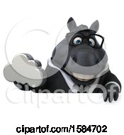 Clipart Of A 3d Chubby Black Business Horse Holding A Cloud On A White Background Royalty Free Illustration