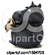 Clipart Of A 3d Chubby Black Horse Eating A Waffle Cone On A White Background Royalty Free Illustration