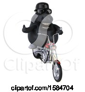 Clipart Of A 3d Chubby Black Horse Riding A Motorcycle On A White Background Royalty Free Illustration