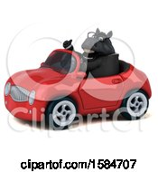 Clipart Of A 3d Chubby Black Business Horse Driving A Convertible On A White Background Royalty Free Illustration
