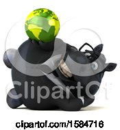Clipart Of A 3d Chubby Black Business Horse Holding A Globe On A White Background Royalty Free Illustration