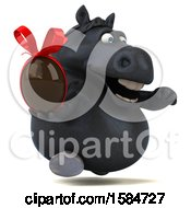 Clipart Of A 3d Chubby Black Horse Holding A Chocolate Egg On A White Background Royalty Free Illustration