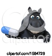 3d Chubby Black Horse Holding A Pill On A White Background