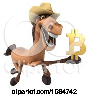 3d Brown Cowboy Horse Holding A Bitcoin Symbol On A White Background