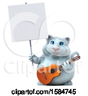 3d White Kitty Cat Holding A Guitar On A White Background