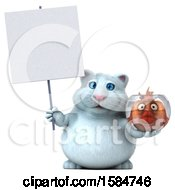 Clipart Of A 3d White Kitty Cat Holding A Fish Bowl On A White Background Royalty Free Illustration