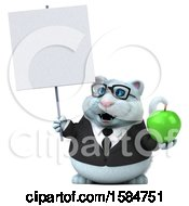 Clipart Of A 3d White Business Kitty Cat Holding An Apple On A White Background Royalty Free Illustration