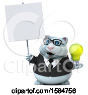 Clipart Of A 3d White Business Kitty Cat Holding A Light Bulb On A White Background Royalty Free Vector Illustration