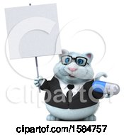 Clipart Of A 3d White Business Kitty Cat Holding A Pill On A White Background Royalty Free Vector Illustration