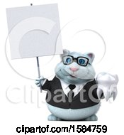Clipart Of A 3d White Business Kitty Cat Holding A Tooth On A White Background Royalty Free Vector Illustration
