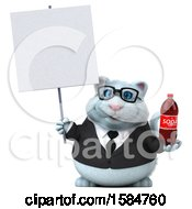 Clipart Of A 3d White Business Kitty Cat Holding A Soda On A White Background Royalty Free Vector Illustration