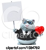 Clipart Of A 3d White Business Kitty Cat Holding A Heart On A White Background Royalty Free Vector Illustration