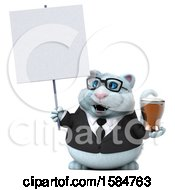 Clipart Of A 3d White Business Kitty Cat Holding A Beer On A White Background Royalty Free Vector Illustration