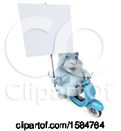 Clipart Of A 3d White Kitty Cat Riding A Scooter On A White Background Royalty Free Vector Illustration
