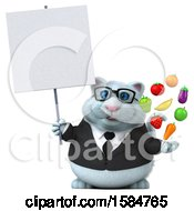 Clipart Of A 3d White Business Kitty Cat Holding Produce On A White Background Royalty Free Vector Illustration