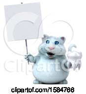 Clipart Of A 3d White Kitty Cat Holding A Tooth On A White Background Royalty Free Vector Illustration