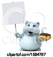Clipart Of A 3d White Kitty Cat Holding A Donut On A White Background Royalty Free Vector Illustration